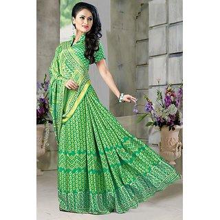 DesiButik Green Crepe Printed Saree With Blouse