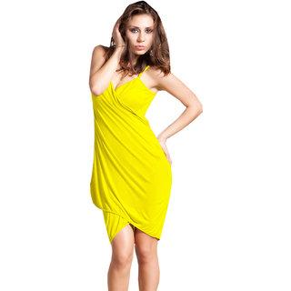 Glamorous Open Back, Yellow Bikini Cover Up Wrap Dress