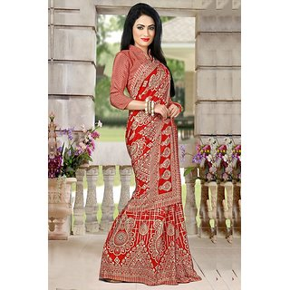 DesiButik Red Crepe Printed Saree With Blouse