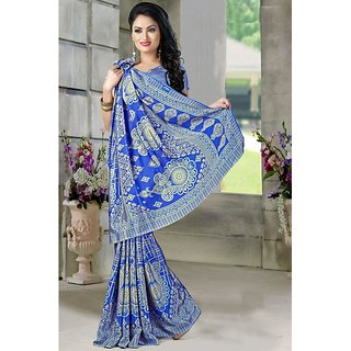 DesiButik Blue Crepe Printed Saree With Blouse