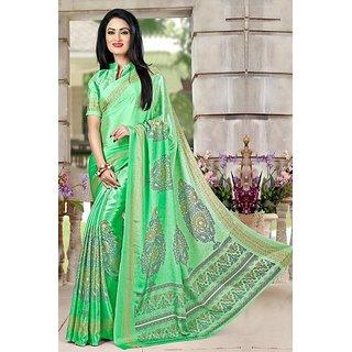 DesiButiks  Green Crepe Saree with Blouse VSM6103
