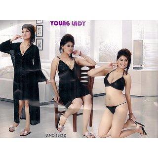 d4841731107a8 Buy Sexy Women Sleep Wear set 4p Bra Panty Nighty   OverCoat Sheer Night  1321D Black Online- Shopclues.com