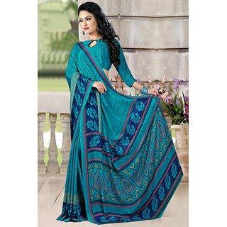 DesiButik Blue Crepe Printed Saree With Blouse