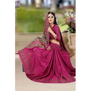 DesiButik Pink Crepe Printed Saree With Blouse