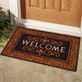 Status Brown Cotton Anti Skid Floor Door Mats- (15 x 23 inch) (Set of 1)