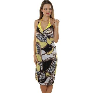 Glamorous Open Back, Exclusive Multi Digital Print Bikini Cover Up Wrap Dress