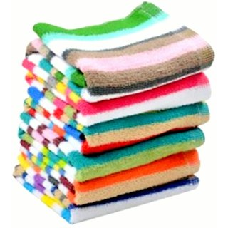 Bpitch Soft Stripe Cotton Hand Towels (30X46Cm)-350 Gsm Mix Colors (Set of 5)