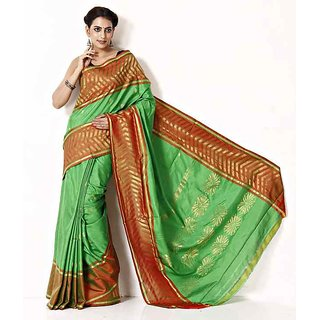 Uppada Pattu Sarees Green Corduroy Plain Saree With Blouse