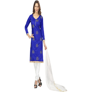 Florence White And Blue Chanderi Embroidered Salwar Suit Dress Material (Unstitched)