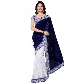 Florence Blue with White  Velvet Embroidered  Saree (FL-11205)