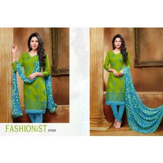 PS Enterprise Jacquard Machine Work Green Unstitched Churidar Suit