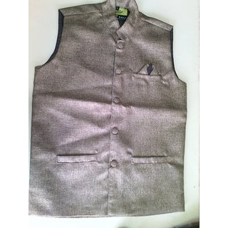 Routeen Golden Nehru Jackets for Men
