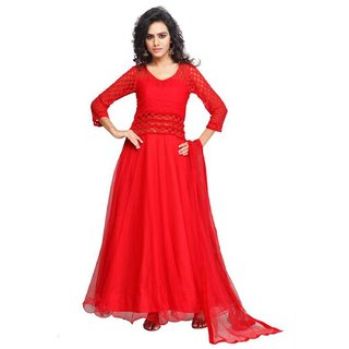 Clickedia Women Georgette Red Embroidered Gown