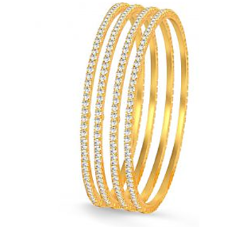 Abeer Classy Gold Plated Set Of 4 Australian Diamond Single Line Bangles