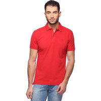 Goat Solid MenS T-Shirt Slim Fit Polo Neck (GMPO001RD)