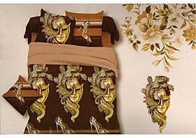 Welhouse India Glamarous Mask Printed 1 Double Bedsheet With 2 Pillow Covers