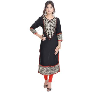 RajLaxmi Sanganeri Printed Black Cotton Kurti