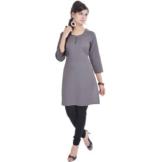 RajLaxmi Jaipuri Plain Grey Cotton Kurti