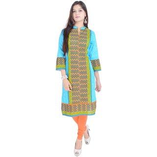 RajLaxmi Blue Jaipuri Printed Cotton Kurti