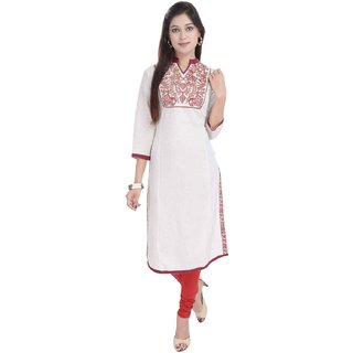 RajLaxmi Beautiful Sanganeri Red Girls Cotton Kurti