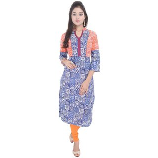 RajLaxmi Lovely Designed Girls Blue Cotton Kurti