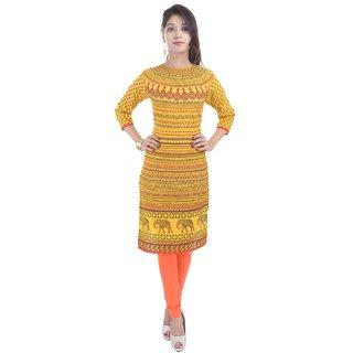 RajLaxmi Rajasthani Print Yellow Cotton Kurti