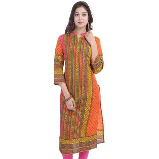 RajLaxmi Rajasthani Orange Print Cotton Kurti