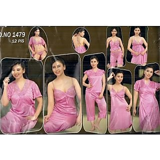 f7b76061c6 Women Sleep Set 12p Bra Panty 3Tops Shorts Skirt Capri Babydoll Robe Nighty  OC
