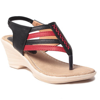 Msc WomenS-Black-Synthetic-Wedges (MSC-259-992-Wedges-BLACK)