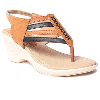 Msc WomenS-Beige-Synthetic-Wedges (MSC-259-992-Wedges-BEIGE)