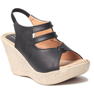 Msc WomenS-Black-Synthetic-Wedges (MSC-259-1125-Wedges-BLACK)