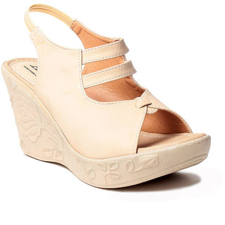 Msc WomenS-Cream-Synthetic-Wedges (MSC-259-1125-Wedges-CREAM)