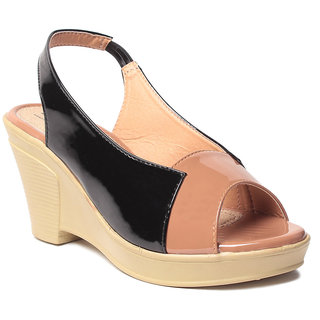 Msc WomenS-Black-Synthetic-Wedges (MSC-259-925-Wedges-BLACK)