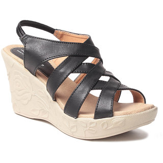 Msc WomenS-Black-Synthetic-Wedges (MSC-259-1036-Wedges-BLACK)