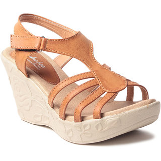 Msc WomenS-Beige-Synthetic-Wedges (MSC-259-912-Wedges-BEIGE)