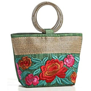 Aapno Rajasthan Green Raw silk Bucket Clutch (1 Pocket)