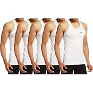 Mens Cotton White Color Vest pack of 5 pcs