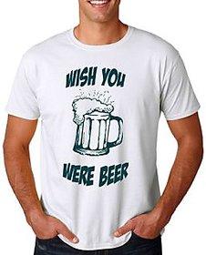 13Karma Cotton White Round Neck Men T-shirt - Wish you were beer