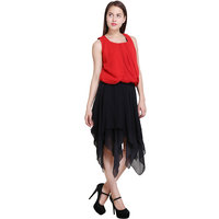 New Sierra women georgette regular red top with cutt off georgette black wholesale skirt