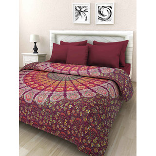 Kanhaa Multicolor Mandala Cotton King Size Duble Bedsheet with 2 Pillow Covers
