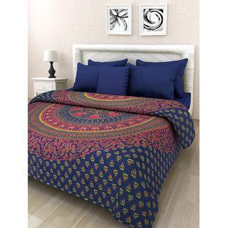 Kanhaa Blue/Orange Mandala Cotton King Size Duble Bedsheet with 2 Pillow Covers