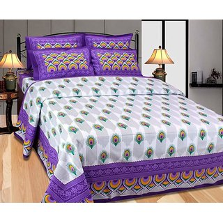AB Home Decor Beautiful Print Double Bedsheet With Two Pillow Covers,Purple