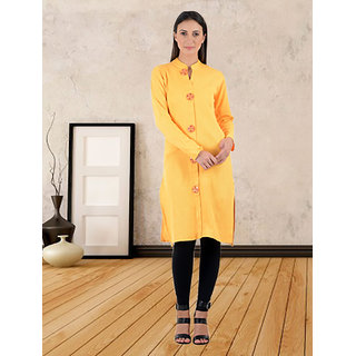 Thankar Yellow Animal Rayon Stitched Kurti