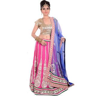 Ambika Pink Cotton Embroidered Unstitched Lehenga Choli