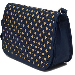 Elysin Structured Cutwork Detail Handbag ELYFB60DKBLU
