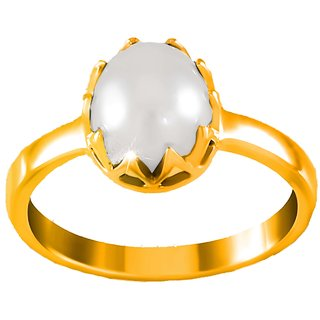 Tishya Silver Gold Plated Pearl Ring