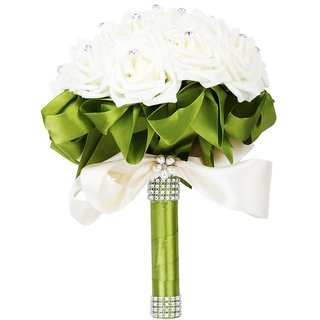 GURUPARASINGH Artificial Wedding Flowers Rose Flowers Ribbon Wedding Bouquet Bridal Ivory
