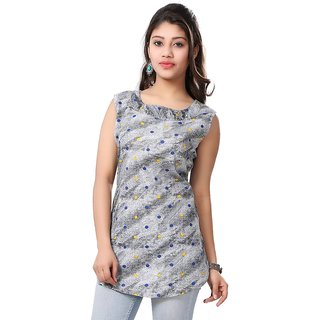 Valas Womens Cotton Printed Grey Short Kurti (VAASRMT3205)