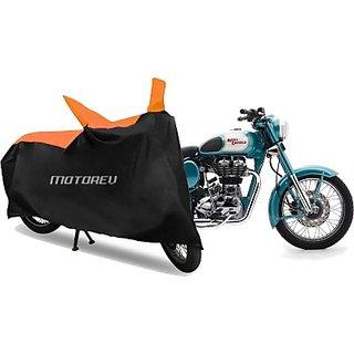 Motorev Premium Orange  Black Sporty Bike Cover for R-oyal E-nfield Bullet Classic 500 Two Wheeler Cover(Orange)