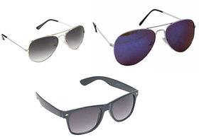 Derry Black UV Protection Aviator Unisex Sunglasses